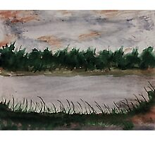 Walking around the Lake.  watercolor Photographic Print