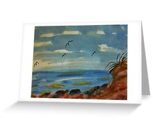 Lets sit on the rocks and enjoy the ocean, watercolor Greeting Card