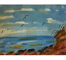 Lets sit on the rocks and enjoy the ocean, watercolor Photographic Print