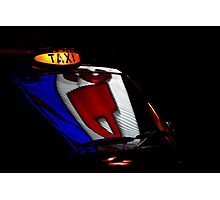 Taxi in the black dark night Photographic Print
