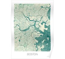 Boston Map Blue Vintage Poster