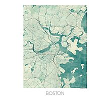 Boston Map Blue Vintage Photographic Print