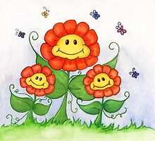 Smiling Flowers! by Jennifer Gibson