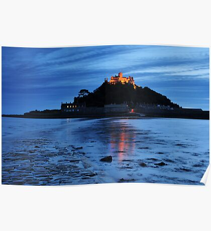 St Michaels Mount at Night.  Poster