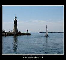 Buffalo Main Lighthouse & Sailboat by Rose Santuci-Sofranko