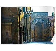 Tuscan Hill Town Poster
