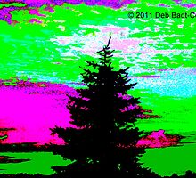 Pine Against Patchwork Sky - Pinks & Greens by Deb  Badt-Covell