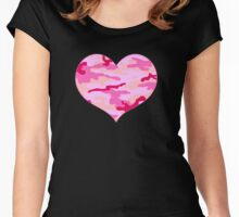 Pink Camo Heart  Women's Fitted Scoop T-Shirt
