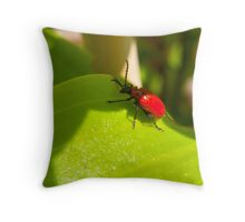 Lily Beetle Throw Pillow