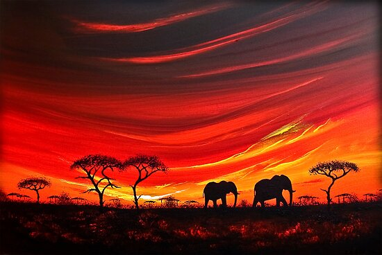 Two Elephants on the Horizon by Shirley Shelton