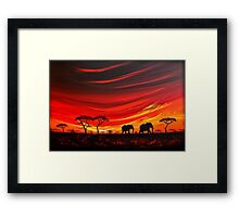 Two Elephants on the Horizon Framed Print