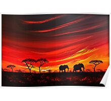 Two Elephants on the Horizon Poster