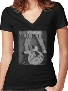Rock On Tee Women's Fitted V-Neck T-Shirt