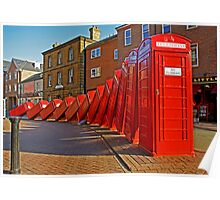 London Red Phone Boxes Art - Kingston Upon Thames Poster