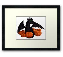 Little Black Dragon with Pumpkin Hoard Framed Print