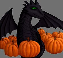 Little Black Dragon with Pumpkin Hoard by shaneisadragon