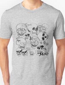 Black Sketchbook Skulls Unisex T-Shirt