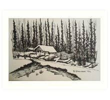 WHISPERING WINTER - Cabin in the Back Country Art Print