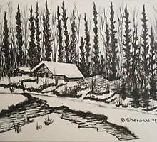 WHISPERING WINTER - Cabin in the Back Country by BSherdahl