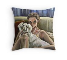 Woman with a Saluki Throw Pillow