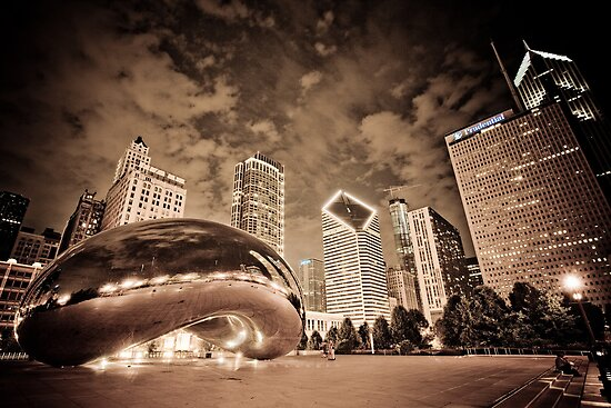 Chicago Skyline by night by danwa