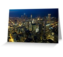Skyline of Chicago by night Greeting Card