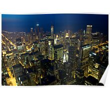 Skyline of Chicago by night Poster
