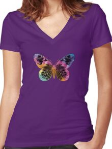 Butterfly Design Women's Fitted V-Neck T-Shirt