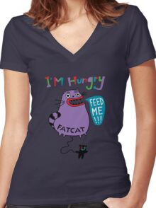 Fat Cat Women's Fitted V-Neck T-Shirt