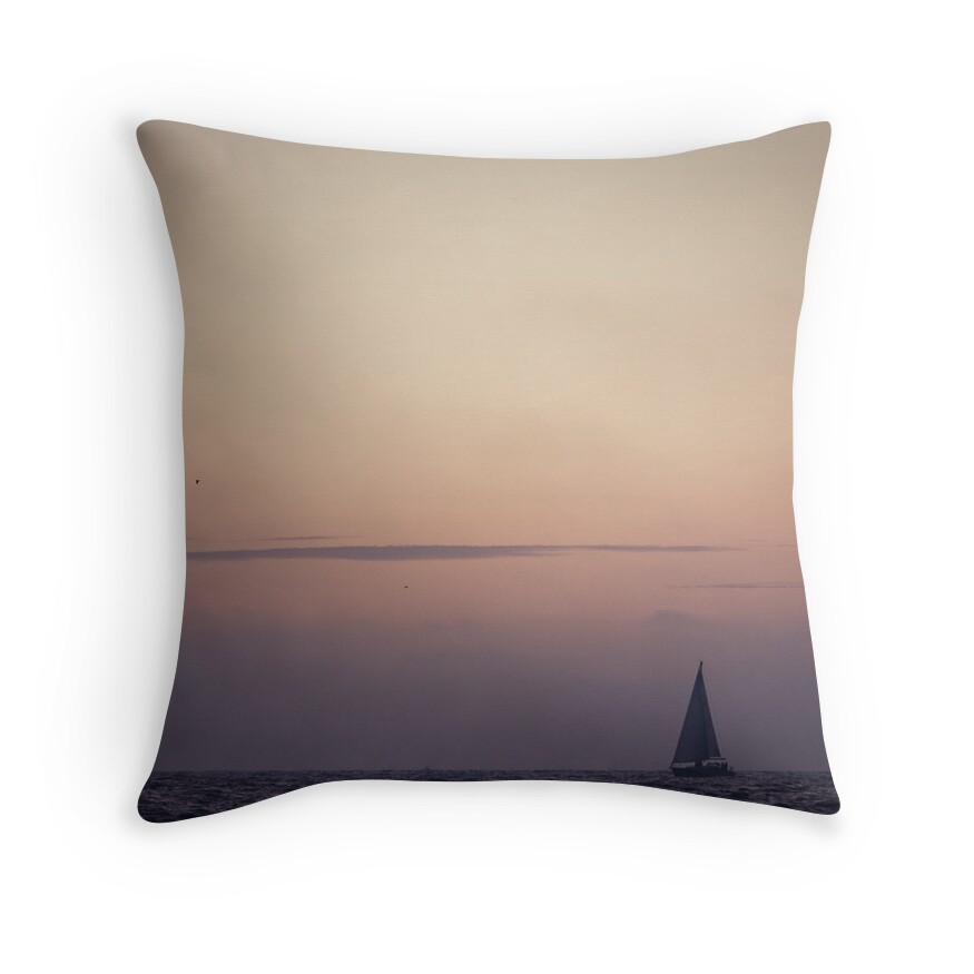 Small Beach Throw Pillows : small boat in the pacific ocean, Venice Beach Los Angeles Throw Pillows by danwa Redbubble