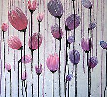 Drippy Tulips - Pink & Purple by Steffanie Mercier