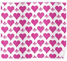 Pink Hearts and Fleur de Lis Pattern Poster