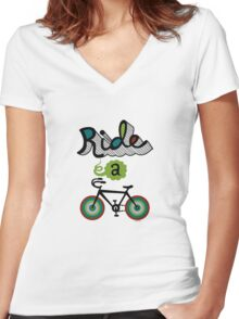 Ride a bike 3 Women's Fitted V-Neck T-Shirt