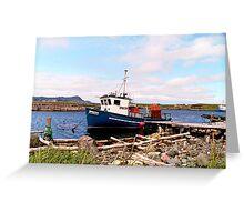 Blue Fishing Boat, Ferryland Newfoundland Greeting Card