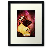 Girl With Hummingbird Framed Print