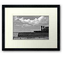 beachside location - relaxed Moai!!!! Framed Print