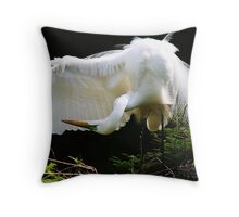 Great White Egret Searching Throw Pillow