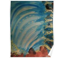 Watching  Waterfall from Topside, watercolor Poster