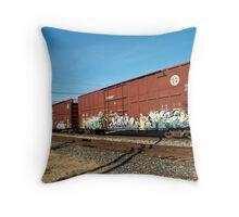 Trains in Sacramento Throw Pillow