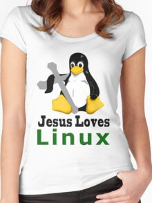 Jesus Loves Linux Women's Fitted Scoop T-Shirt