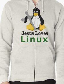 Jesus Loves Linux Zipped Hoodie