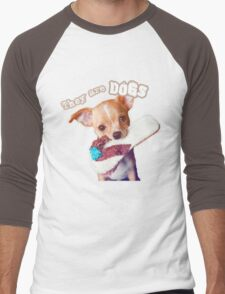 They are Dogs (T-shirt puppies) Men's Baseball ¾ T-Shirt