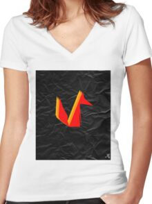 Crumpled Fox Women's Fitted V-Neck T-Shirt