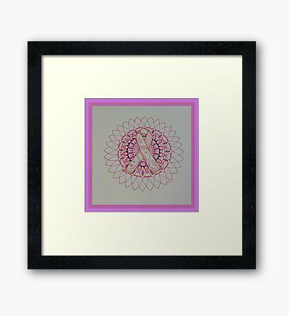 Breast Cancer Ribbon Mandala Framed Print