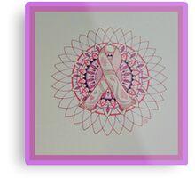 Breast Cancer Ribbon Mandala Metal Print