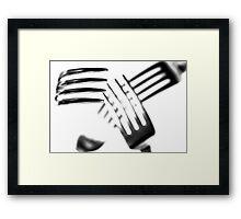 Cutlery Chaos...(2) B&W Framed Print
