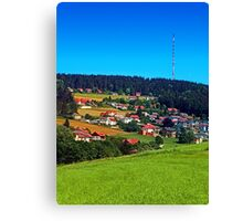 Green grass, the village and a transmitter pole Canvas Print