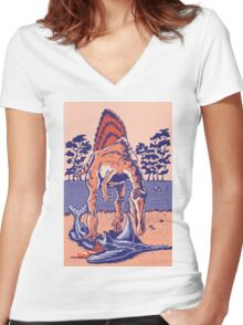 Spinosaurus the Hunter Women's Fitted V-Neck T-Shirt