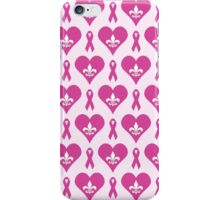 Think Pink Hearts and Fleur de Lis Pattern iPhone Case/Skin
