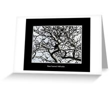 Crow in snow covered trees Greeting Card